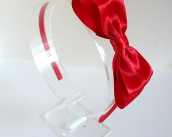 Red Bow Headband. Red Satin Bow Headband. Girls Hair Accessories.Adult Headband. Teen Headband. Red Headband. Womens Hair Accessories. Red