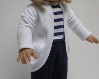 LONG WHITE SHRUG Cardigan 18 inch doll clothes