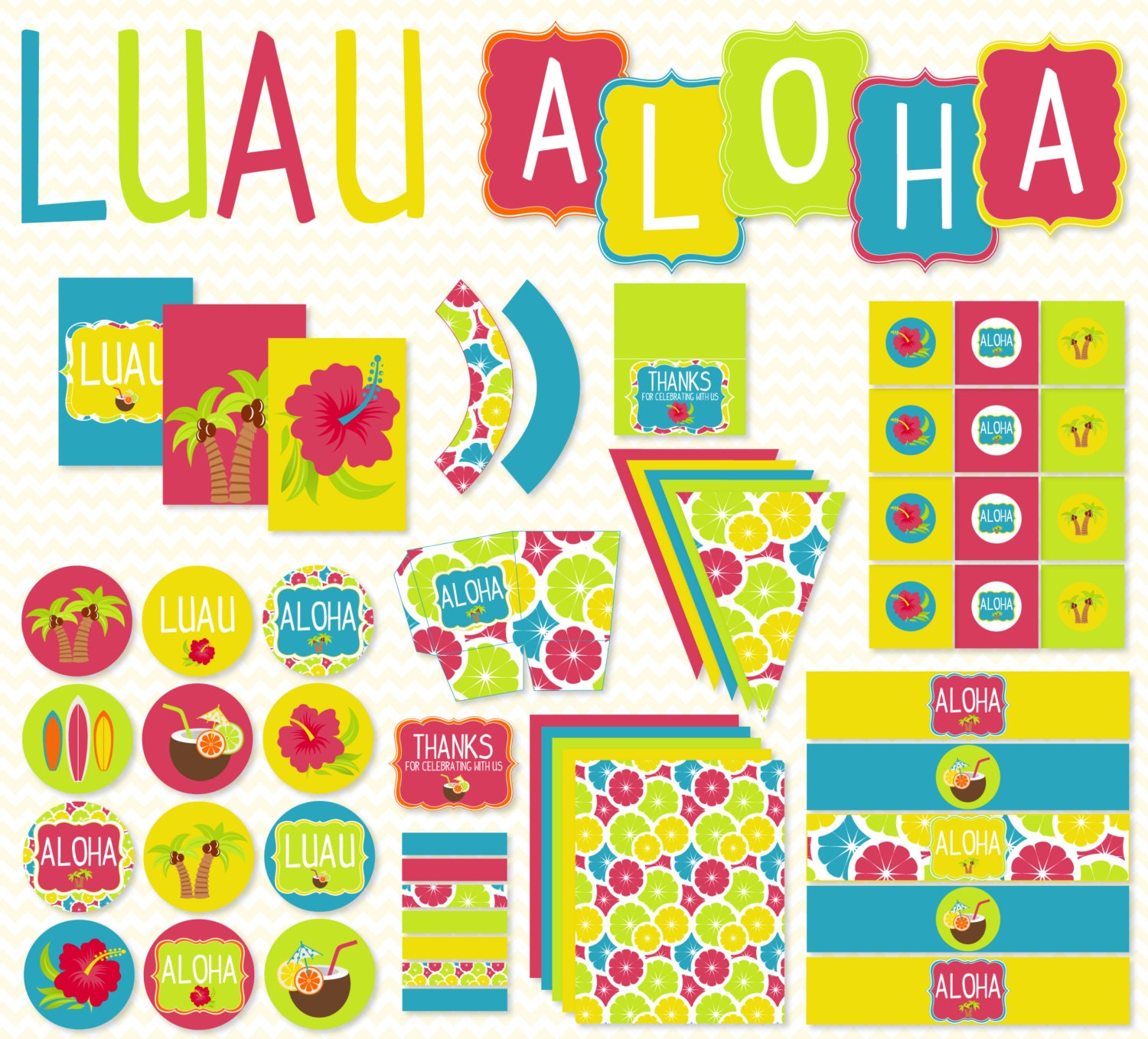 Summer Luau PRINTABLE Party by Love The Day – Hawaiian Party Invitations Printable