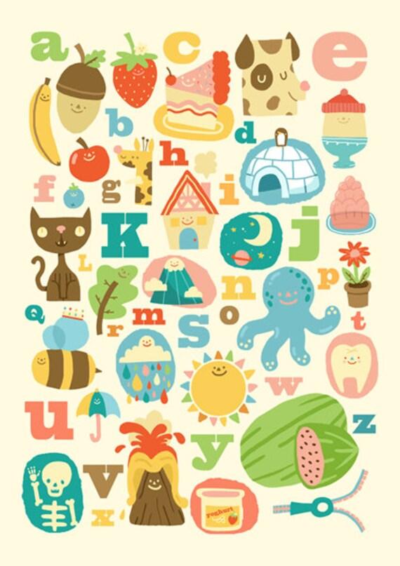 ON SALE A3 Art Print - ABC Alphabet - Cute Nursery Print / Studio Art / Art Print / Alphabet Print