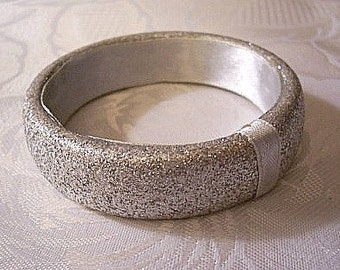 Silver Grey Sparkle Glitter Bracelet Bangle Vintage Satin Fabric Ribbon Accent Extra Wide Band Open Round Wrist Dressy Ring