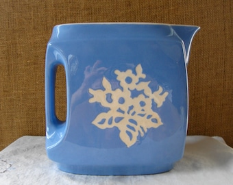 1930s Blue Cameoware Water Pitcher by Harker Pottery Co USA