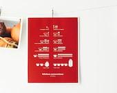 Red Kitchen Conversions Art Print - Kitchen Art - Kitchen Posters - Measurements, Home Decor, 8.5x11