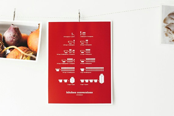 Red Kitchen Conversions Art Print - Kitchen Art - Kitchen Posters - Measurements, Home Decor, 8.5x11
