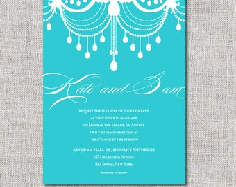 Digital DIY Chandelier Wedding Invitation - blue and white