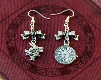 White Rabbit Earrings, Mismatched Earrings, Alice in Wonderland Jewellery