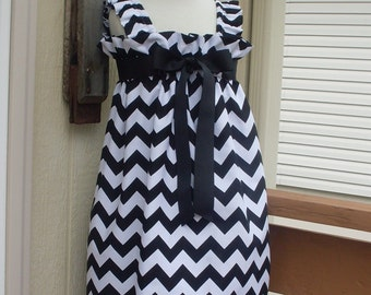 Black Chevron Sundress, Size 3, 4, 5, 6, 7, 8, and 10
