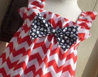 Stars and Stripes are Forever Chevron Sundress, Size 3, 4, 5, 6, 7, 8, and 10