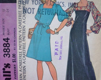 70s Maxi Dress Pattern McCalls 3884 Puffed Sleeves  Square Neckline Bust 34 American Hustle