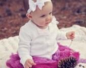 White baby headband, infant headband, baby headband, newborn headband, white bow headband, baby hair bow, baby hair band