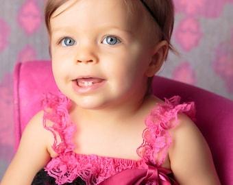 Black baby headband, baby headband, mini flower headband, newborn headband, black  flower headband with rhinestones and pearls