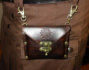 Steampunk leather hip bag / wallet with antique brass swing clasp