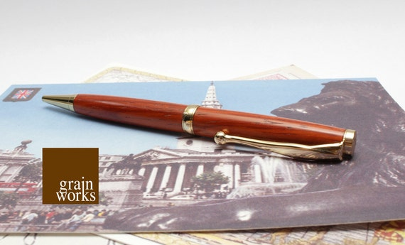 Padauk Wood Comfort Style Ballpoint Pen with 24kt Gold Accents, Sleeve, and Gift Box (SALE)