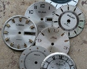 Vintage Soviet Watch Faces -- set of 7 -- D9