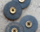 Vintage clock gears -- black -- set of 4 -- D8