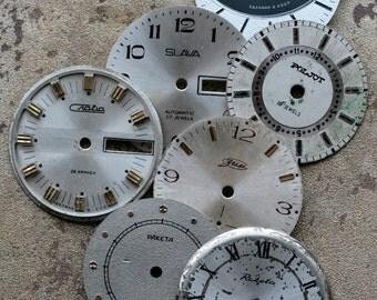 Vintage Soviet Watch Faces -- set of 7 -- D9