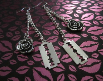 Silver Razor Blade Rose Dangle Earrings