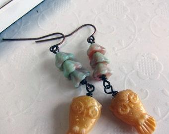 Shabby Chic Owl Flower Earrings, Owl Dangles, Pastel Owl Earrings, Pastel Flower Earrings, Woodland Earrings