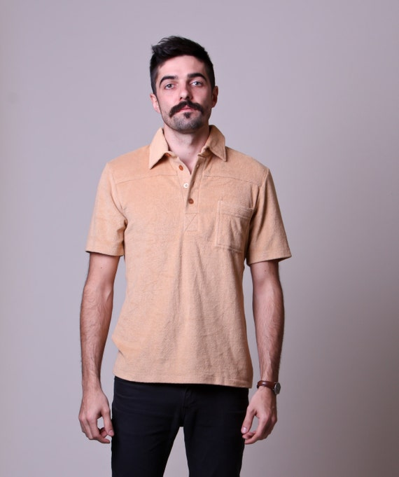 80s mens polo vintage tan terry cloth shirt terry cloth