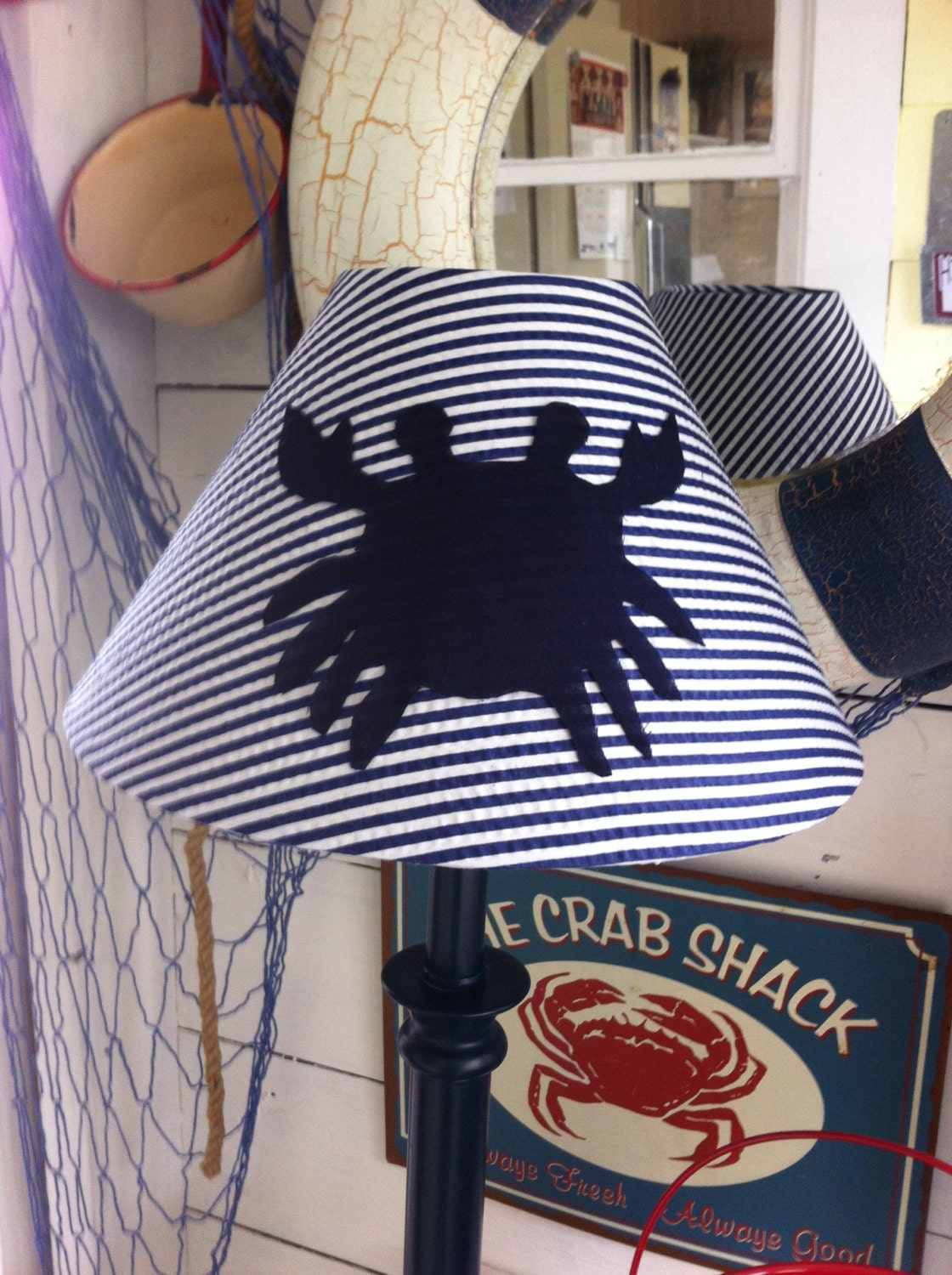 crab lampshade nautical nursery crab navy crab crab. Black Bedroom Furniture Sets. Home Design Ideas