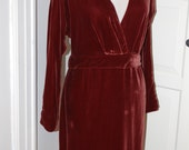 60s Dress, Plunge Neckline, Holly Harp, Plum, Velvet, Cocktail, Party, Saks Fifth Ave, Designer, Size M/L
