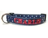 Nautical Dog Collar - Anchors Personalized dog collar