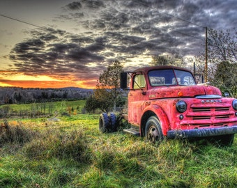 The Old Red Dodge Print