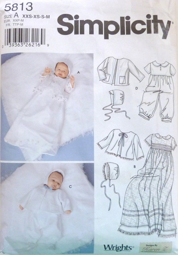 Sewing Pattern Simplicity 5813 Babies Christening Gown
