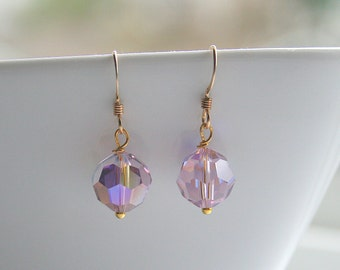 Amethyst, Swarovski, round, drop, gold, earrings - AMETHYST