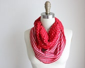 Red and White Stripes and Polka Dots Reversible Infinity Scarf