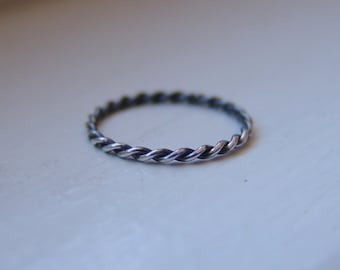 Twist Stack Ring Sterling Silver Hand Twisted Oxidized Darkened