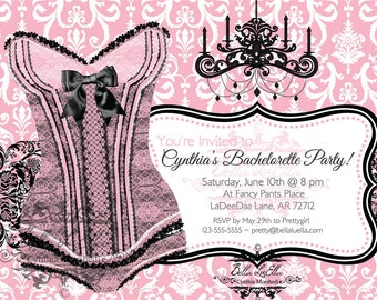 Bachelorette Invitation, Lingerie Shower Invitations, Bachelorette Party, Burlesque Party, Invitations