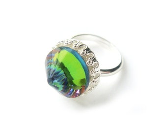 Rainbow Vintage Swarovski Crystal Ring