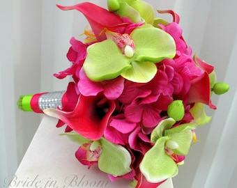 Wedding Bouquet hot pink calla lily lime green orchid Tropical bridal bouquet Beach weddings