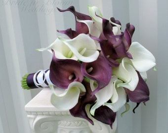 Calla lily Wedding bouquet Bridal bouquet Real touch calla lilies white plum purple