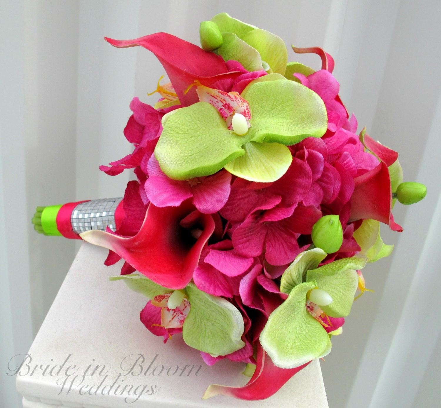 wedding bouquet hot pink calla lily lime green orchid tropical, Natural flower