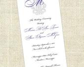 Printable, DIY Wedding Programs - TRUE Love