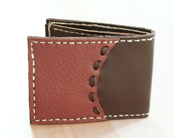 SALE, Men Leather Wallet in Dark Brown, Hand Sewn