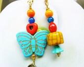 Aqua Butterfly Light/ Fan Pull Chain, Unique Light Pull, handmade by gviolet