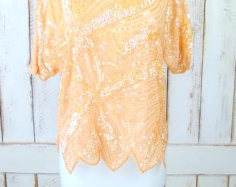 Vintage peach beaded sequins flutter sleeve top
