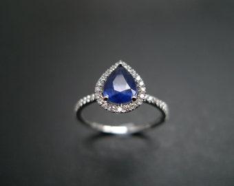 Pear Cut Blue Sapphire Diamond Engagement Ring