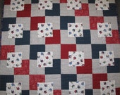 Patriotic Red White and Blue Quilt--Baby Toddler Quilt--Sailboat Quilt--Optical Illusion Quilt--4th of July Quilt--Independence Day Quilt