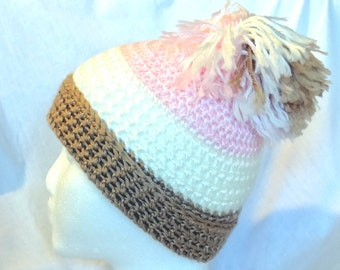 ON SALE, Womans Crochet Hat with Pom in Pink White Brown Skull Cap, Winter Cap, Teen Hat, Lightweight Cap, Cheerful, Happy Hat, Made in USA