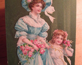 Valentine Postcard Woman and Girl in Victorian Dress with Pink Roses