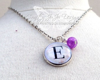 Glass Tile Necklace with Birthstone Coloured Bead