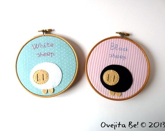 Embroidery hoop wall art, set of 2 - Black and White Sheeps SALE