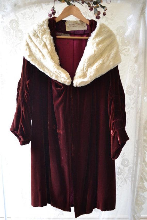 48 HOUR SALE: Stunning Dark Wine Velvet Flapper Cocoon Coat With Ermine Fur Collar - As Is