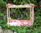American Made Girl Doll Bed - Canopy Gypsy Bandana Doll Bed-Fits AG Dolls and 18 Inch Dolls