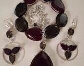Vintage / AXCESS by LIZ CLAIBORNE / Necklace / Bracelet / Earrings / Red / Brown / Jewelry Set / Parure / Lucite / Rhinestones / Accessories