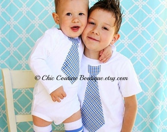 Tie Set of 3. 2 Tie Shirts & 1 Pair Leg Warmers. Big Brother Little Brother Tie Shirts. Ring Bearer, Matching. Coming Home Outfit, Christmas